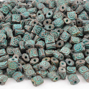 Casting-6mm Flat Square Ornament Beads-Green Patina