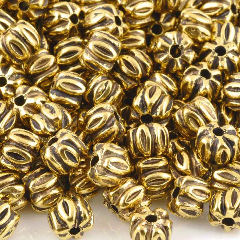 Casting-7x9mm Ridged Rondelle Bead-Antique Gold