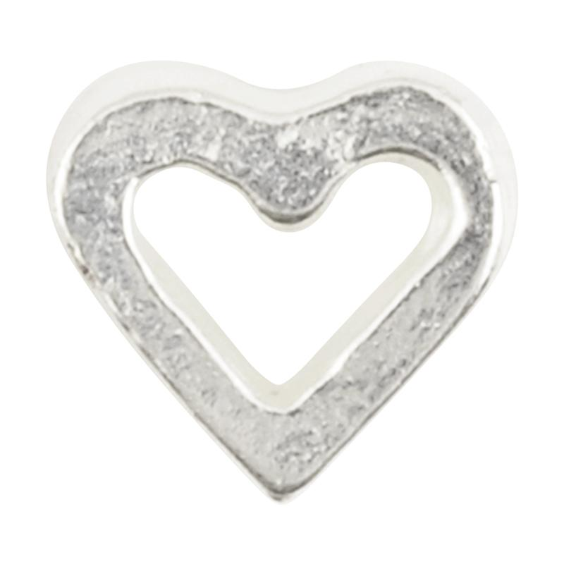 Casting-8mm Tiny Open Heart Bead-Silver-Quantity 1