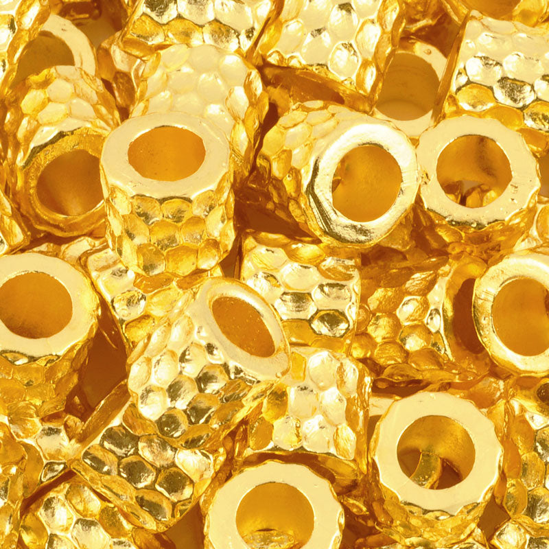 Casting-9mm Small Chunky Barrel Faceted Bead-Gold