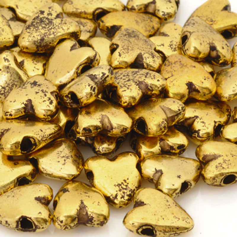 Casting-9x10mm Heart Bead-Antique Gold
