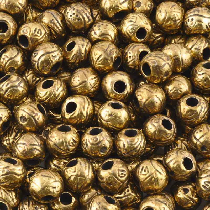Casting-9x11mm Etched Bead-Antique Bronze