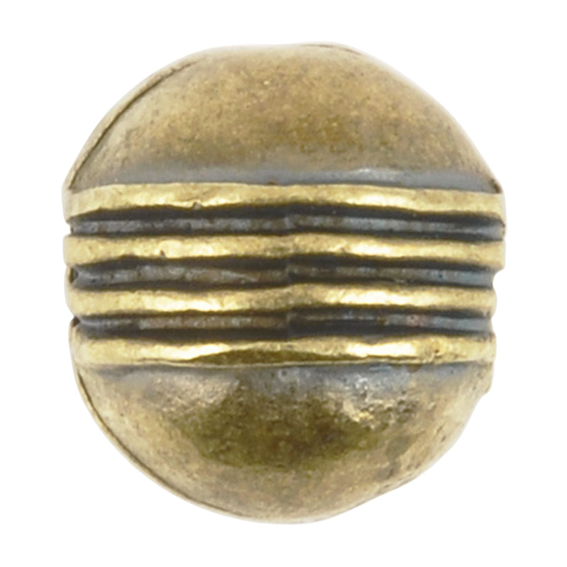 Casting Beads Wholesale-10mm Round with Line Accent-Antique Bronze