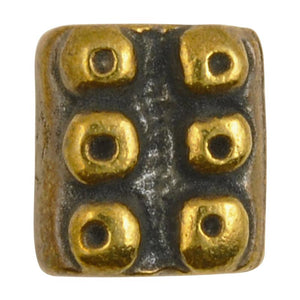 Casting Beads-10x11mm Dotted Rectangle-Antique Bronze-Quantity 1