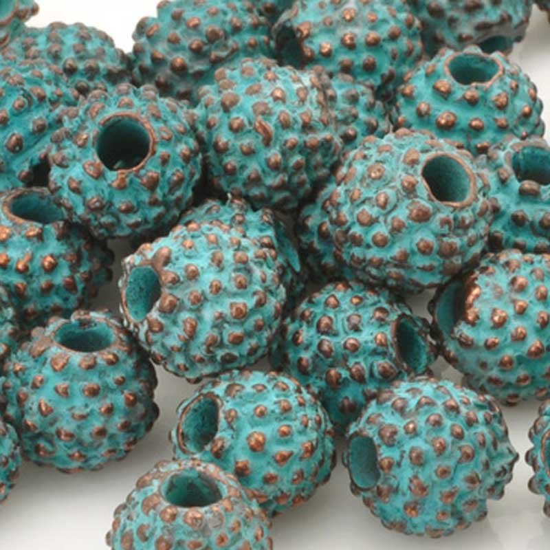 Casting Beads-11mm Coarse-Green Patina