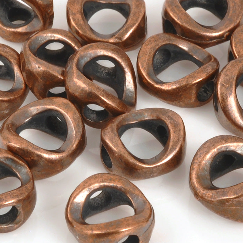 Casting Beads-11mm Round Flat Pinch-Antique Copper-Quantity 1