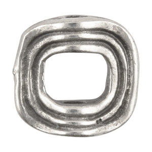 Casting Beads-13mm Flat Round Wavy Square-Antique Silver