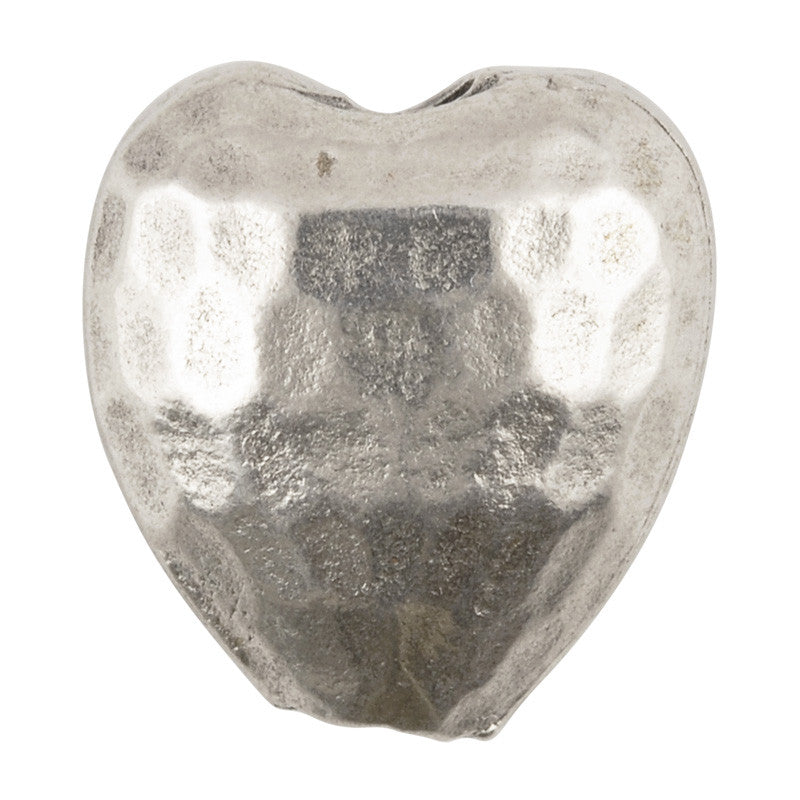 Casting Beads-15mm Hammered Heart-Antique Silver