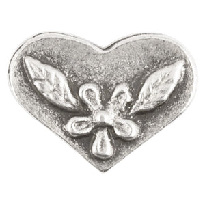 Casting Beads-15x11mm Heart with Flower-Antique Silver