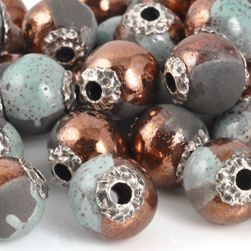 Casting Beads-16mm Ceramic Focal-Raku Blue