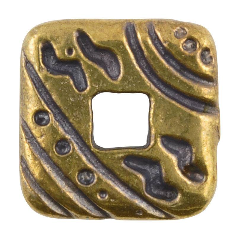 Casting Beads-17mm Square with Design-Antique Bronze