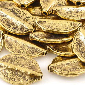 Casting-20x29mm Leaf Bead-Antique Gold