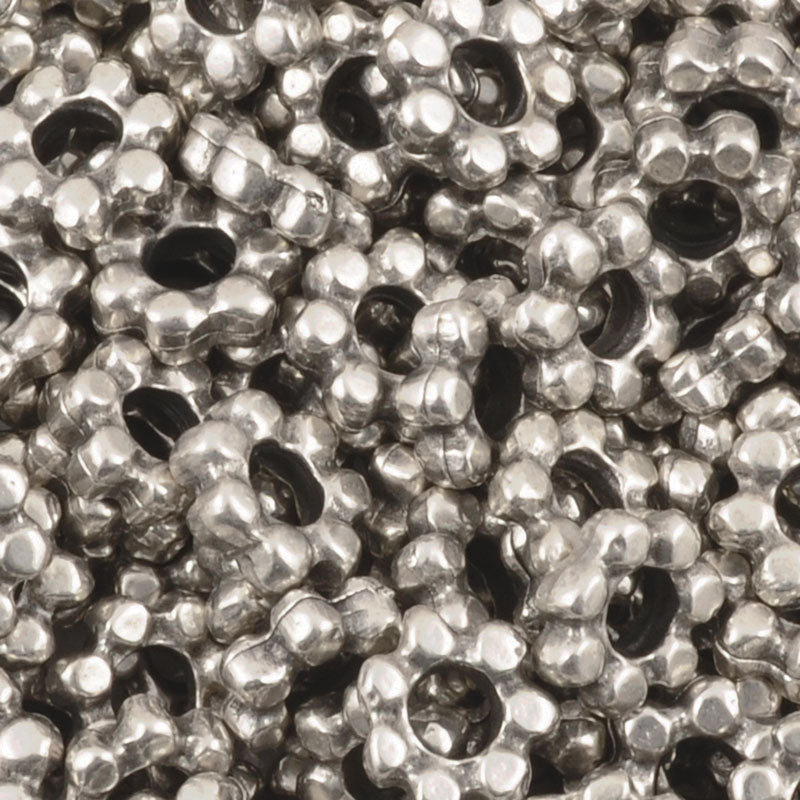 Casting Beads-7mm Dot Spacer-Antique Silver-Quantity 5