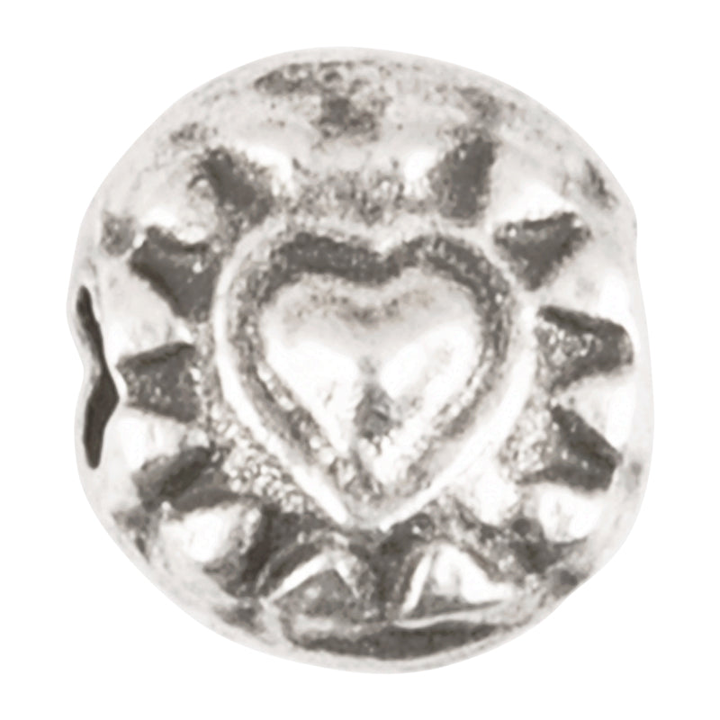 Casting Beads Wholesale-7mm Ornate Heart-Antique Silver