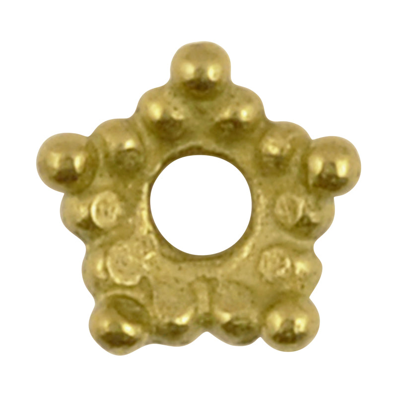 Casting Beads-8mm Dotted Star Bead Cap-Brass-Quantity 10