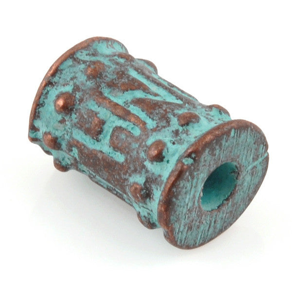 Casting Beads-8x11mm Tube-Green Patina