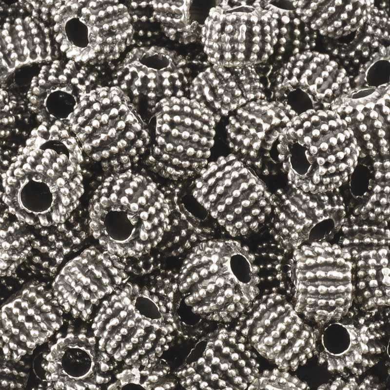Casting Beads-8x5mm Coarse Rondelle-Antique Silver