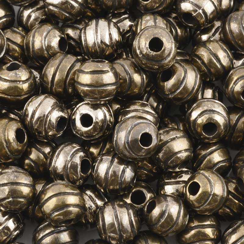 Casting Beads-9mm Round Line with Detail-Antique Bronze