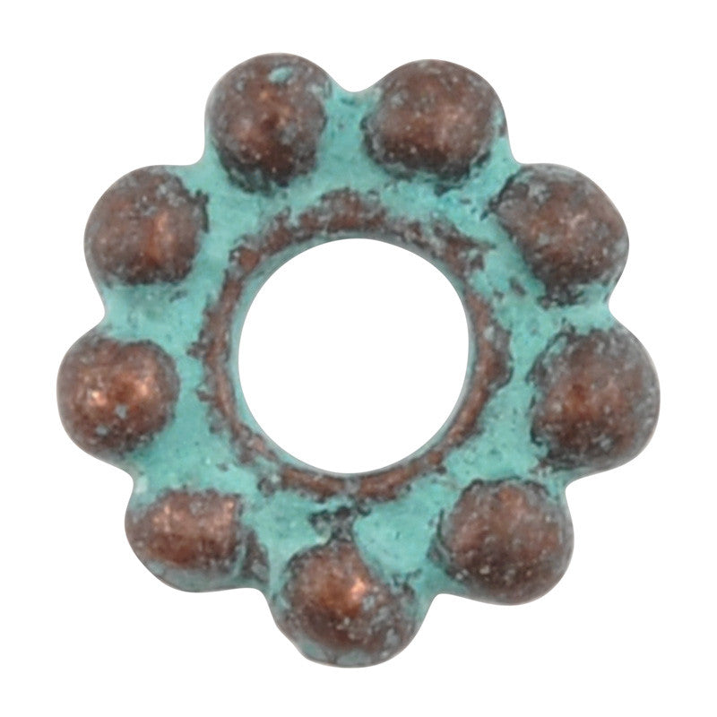 Casting Beads-10mm Dot Spacer-Green Patina