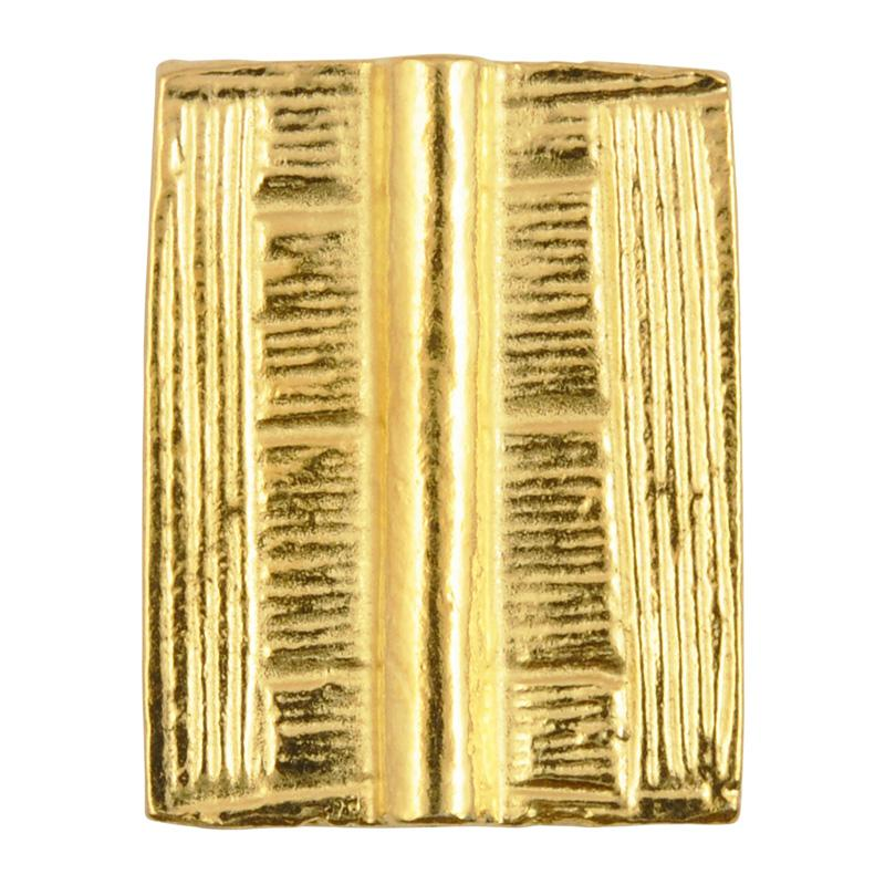 Casting Beads Wholesale-20x25mm Flat Rectangle Tube with Straight Lines-Gold-Quantity 10