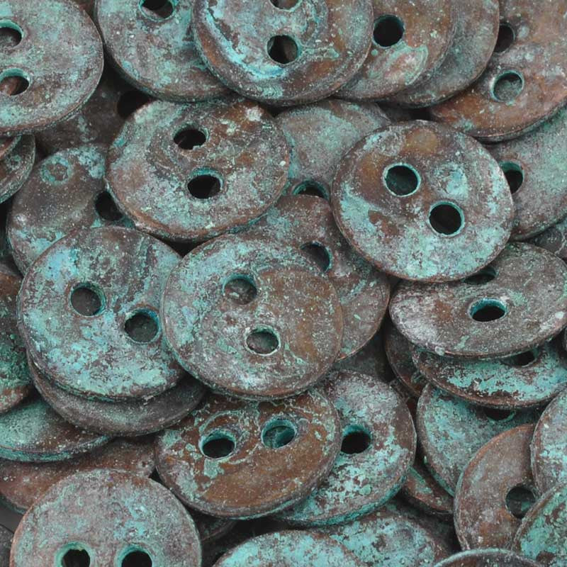 Casting Button-12mm Vintage-Green Patina