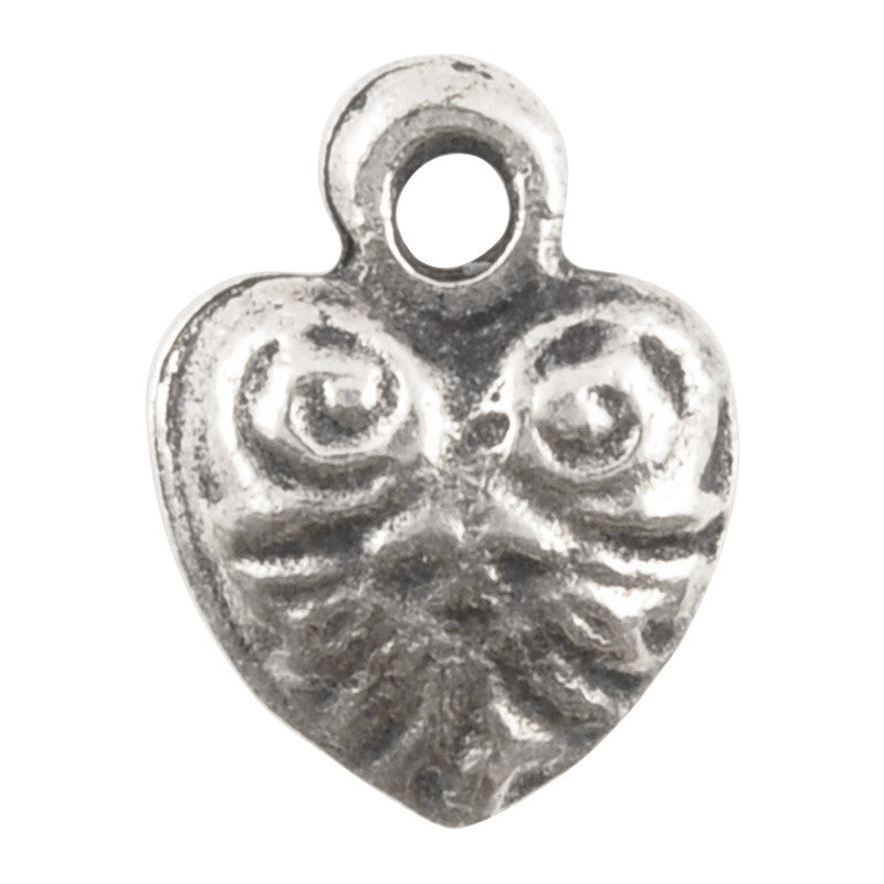 Casting Charm-10x13mm Tiny Ornate Heart-Antique Silver