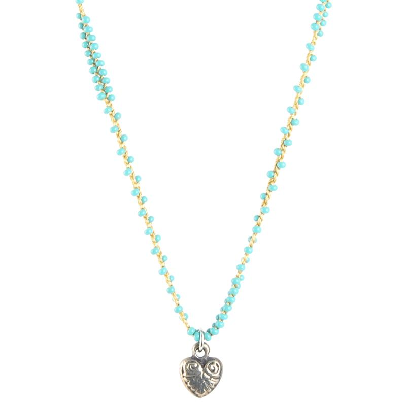 Handmade Jewelry-Hand Braided Ornate Antique Silver Heart Necklace-Double Row-Turquoise