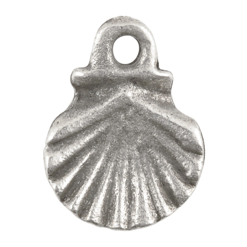 Casting Charm-10x14mm Scallop Shell-Antique Silver