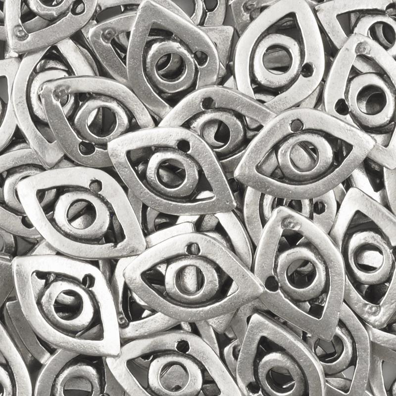 Casting Charm Wholesale-11x15mm Modern Eye-Antique Silver