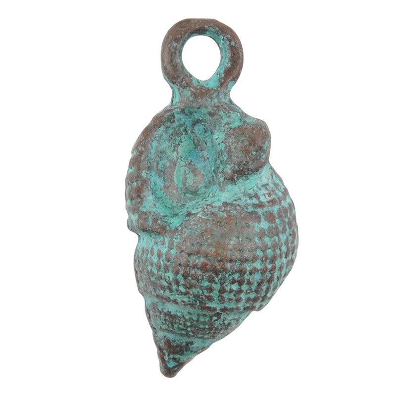 Casting Charm-11x23mm Whelk Shell-Green Patina