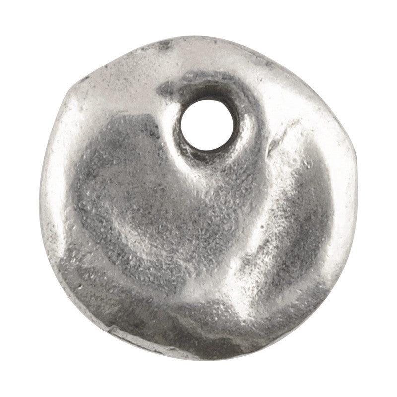 Casting Charm-13mm Hammered Circle-Antique Silver