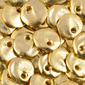 Casting Charm-13mm Hammered Circle-Gold