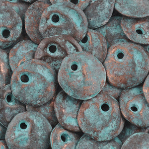 Casting Charm-13mm Hammered Circle-Green Patina