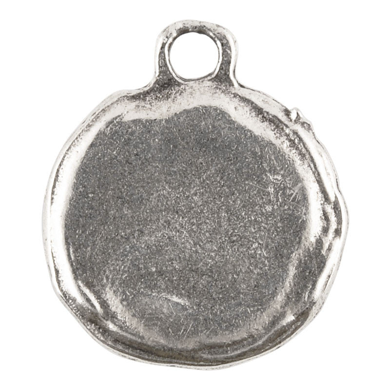 Casting Charm-14x17mm Round Granulated Frame-Antique Silver