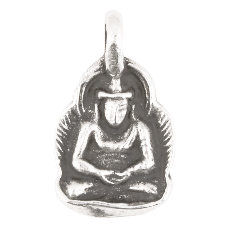 Casting Charm-14x25mm Small Buddha Amulet-Antique Silver