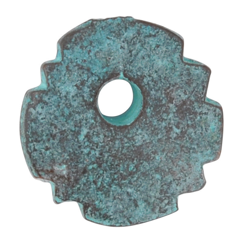 Casting Charm-15mm Jagged Circle-Green Patina