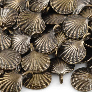 Casting Charm-15x18mm Clam Shell-Antique Bronze