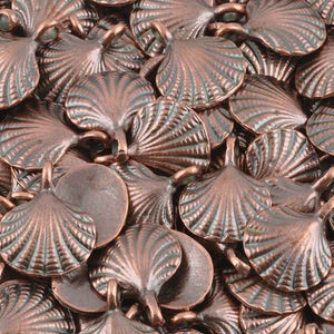 Casting Charm-15x18mm Clam Shell-Antique Copper