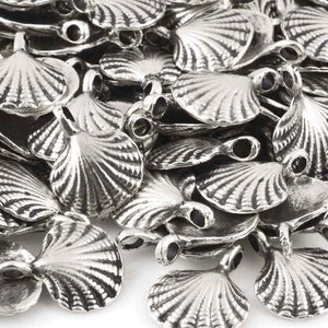 Casting Charm-15x18mm Clam Shell-Antique Silver