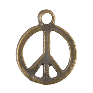 Casting Charm-15x18mm Peace-Antique Bronze