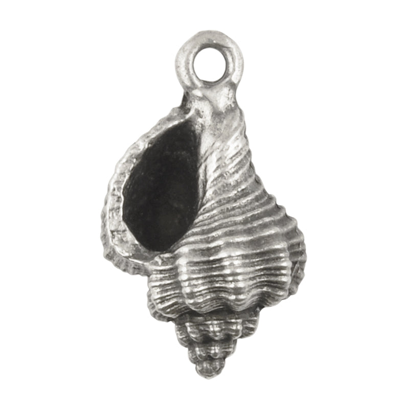 Casting Charm-15x25mm Conch Shell-Antique Silver-Quantity 1