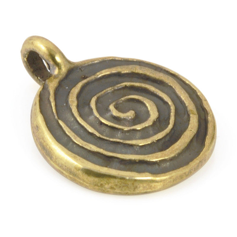 Casting Charm-16x21mm Spiral-Antique Bronze
