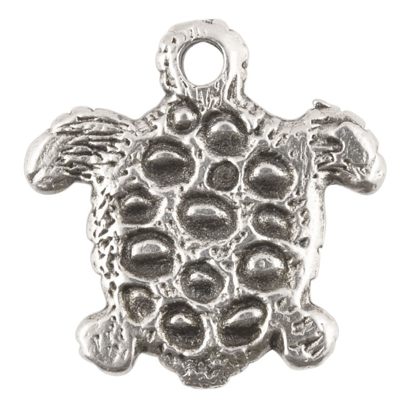 Casting Charm-17mm Tiny Turtle-Antique Silver