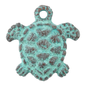 Casting Charm-17mm Tiny Turtle-Green Patina