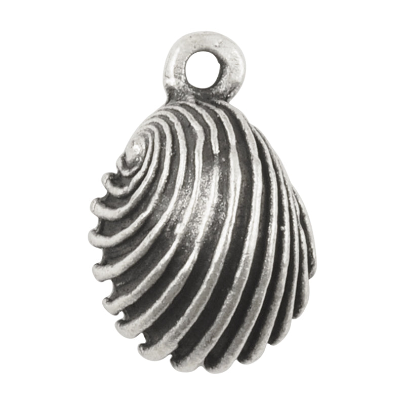 Casting Charm-18x20mm Swirled Cockle Shell-Silver-Quantity 1