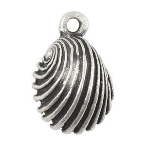 Casting Charm Wholesale-18x20mm Swirled Cockle Shell-Antique Silver