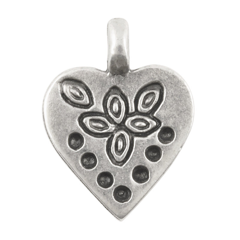 Casting Charm-18x23mm Stamped Heart-Antique Silver-Quantity 1