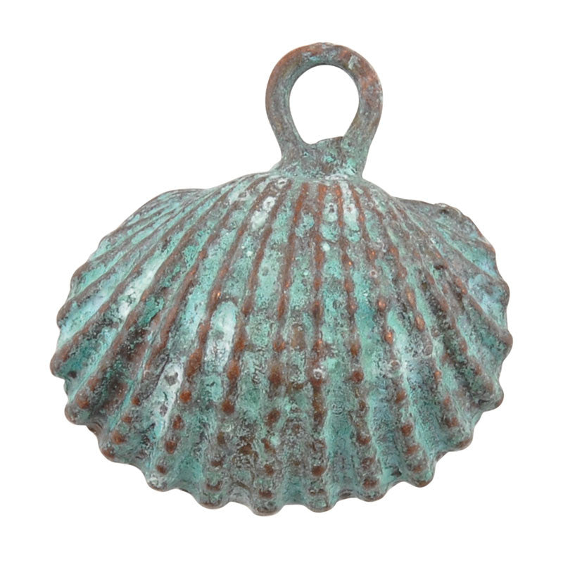 Casting Charm-20mm Cockle Shell-Green Patina-Quantity 1
