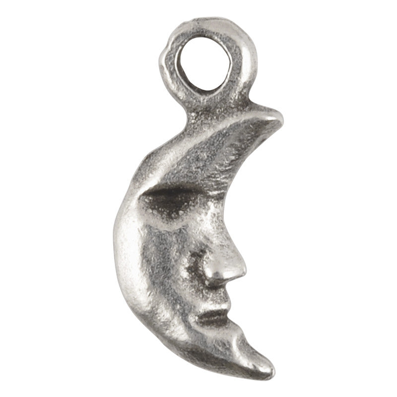 Casting Charm-7x15mm Tiny Moon-Antique Silver