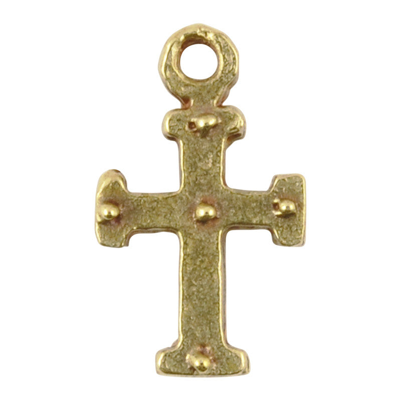 Casting Charm-9x15mm Tiny Medieval Cross-Antique Bronze